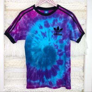 Adidas Tie Dye Short Sleeve Tee Blue Purple Velvet